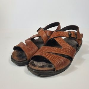 Mephisto Brown Leather Slingback Open Toe Sandals